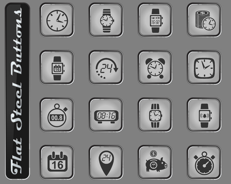 time vector web icons on the flat steel buttons Illustration