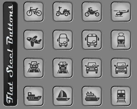 transport vector web icons on the flat steel buttons