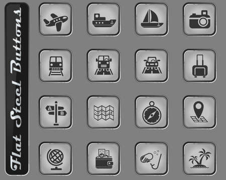 travel vector web icons on the flat steel buttons