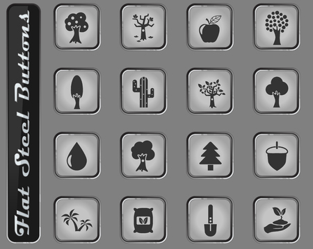 trees vector web icons on the flat steel buttons