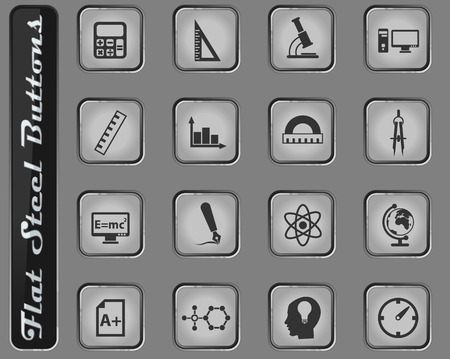 university vector web icons on the flat steel buttons
