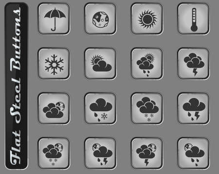 weather vector web icons on the flat steel buttons Ilustracja