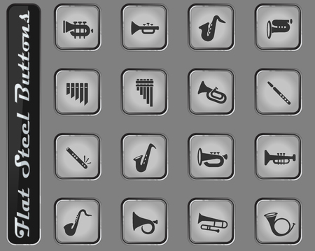 wind instruments vector web icons on the flat steel buttons Illustration