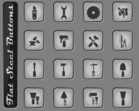 Work tools vector web icons on the flat steel buttons