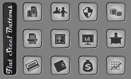 Finance vector web icons on the flat steel buttons