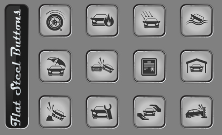 Car Insurance vector web icons on the flat steel buttons Banque d'images - 127708429