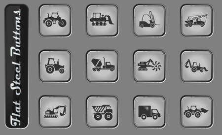 Construction Machines vector web icons on the flat steel buttons Ilustração