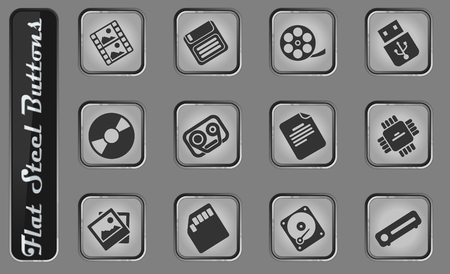 Information carriers vector web icons on the flat steel buttons Illustration