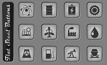 Energy and Industry vector web icons on the flat steel buttons Illustration
