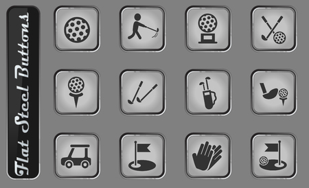 golf vector web icons on the flat steel buttons