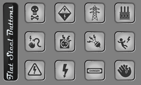 High voltage vector web icons on the flat steel buttons 일러스트