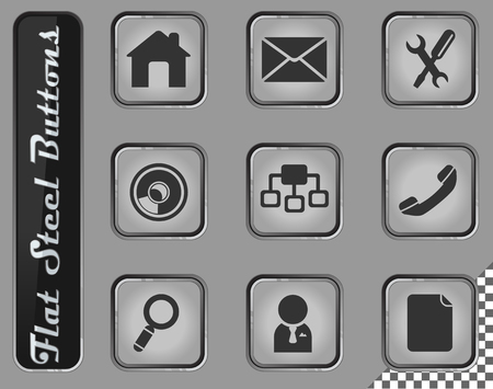 Web site navigation vector web icons on the flat steel buttons Banque d'images - 127708450