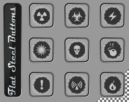 Hazard vector web icons on the flat steel buttons