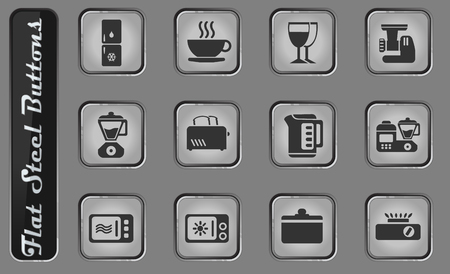 Kitchen Utensils vector web icons on the flat steel buttons