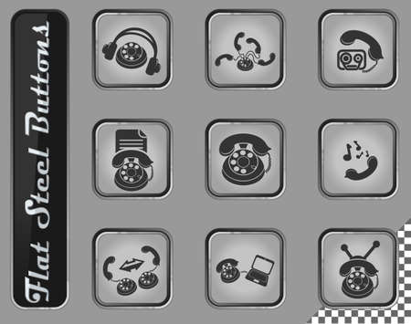 Telephone vector web icons on the flat steel buttons