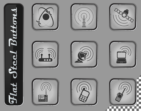 Radio signal vector web icons on the flat steel buttons Vettoriali