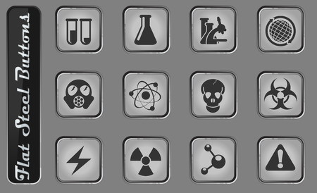 Science vector web icons on the flat steel buttons