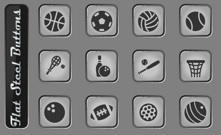 sport balls vector web icons on the flat steel buttons Illustration