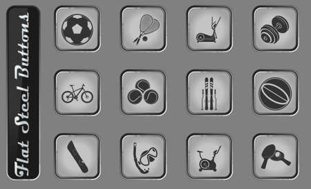 Sport equipment vector web icons on the flat steel buttons Illustration