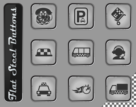 taxi services vector web icons on the flat steel buttons Stock Illustratie