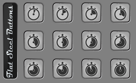 Timer simply vector web icons on the flat steel buttons  イラスト・ベクター素材