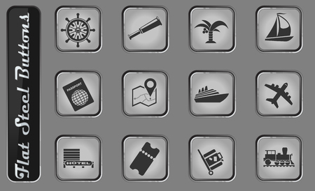 Tourism and Travel vector web icons on the flat steel buttons