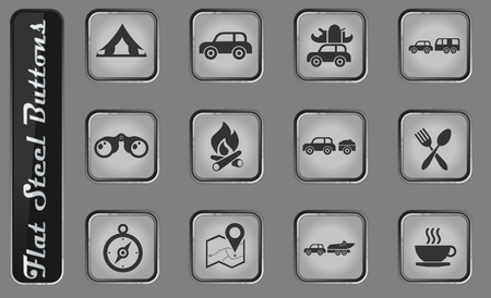 Tourism and Travel vector web icons on the flat steel buttons Stockfoto - 127708475