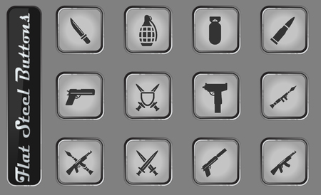 Weapon vector web icons on the flat steel buttons Ilustrace