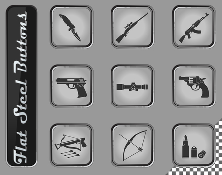 Weapon vector web icons on the flat steel buttons 向量圖像