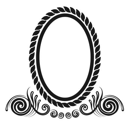 bordo decorativo ovale in antico design decorativo in stile rococò Vettoriali