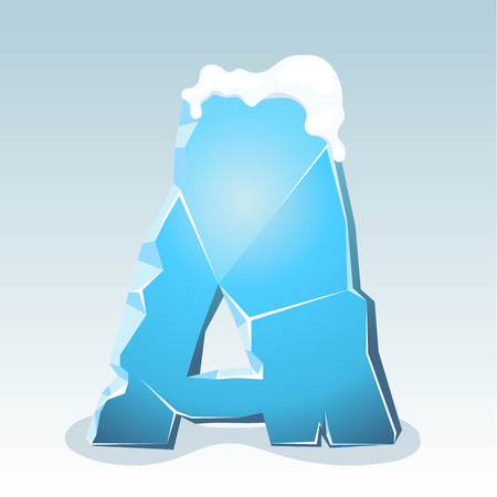 Ice letter A with snow on the top, vector font Illustration
