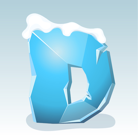 Ice letter D with snow on the top, vector font