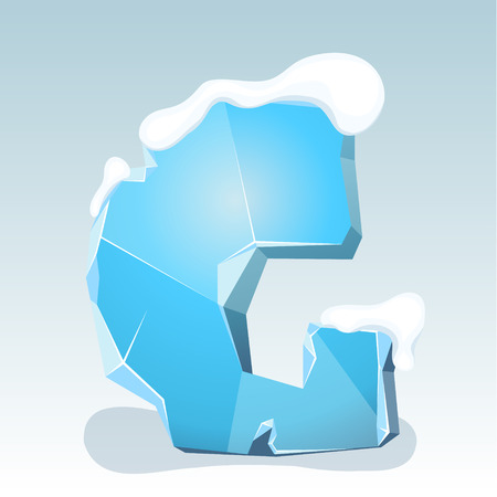 Ice letter G with snow on the top, vector font