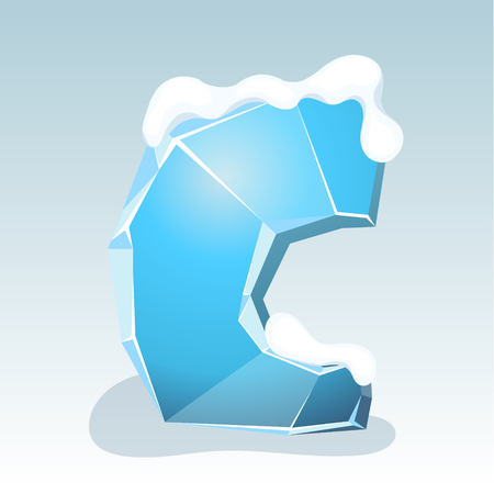 Ice letter C with snow on the top, vector font