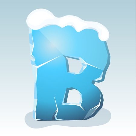 Ice letter B with snow on the top, vector font