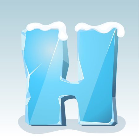 Ice letter H with snow on the top, vector font