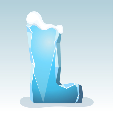 Ice letter L with snow on the top, vector font