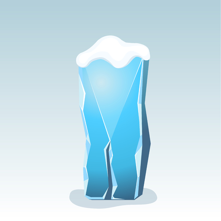 Ice letter I with snow on the top, vector font