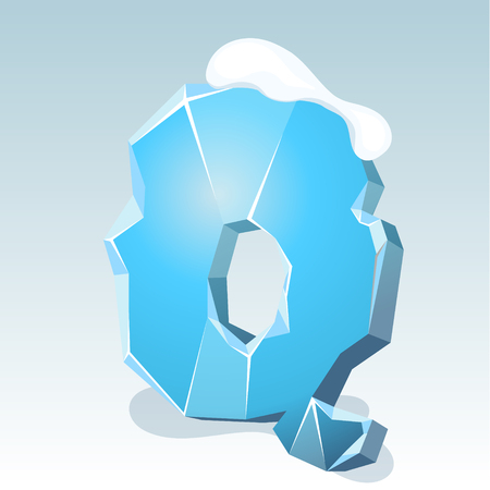 Ice letter Q with snow on the top, vector font Illustration