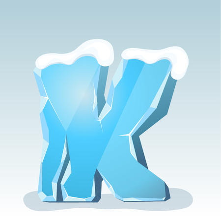 Ice letter K with snow on the top, vector font
