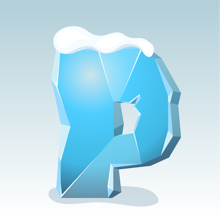 Ice letter P with snow on the top, vector font