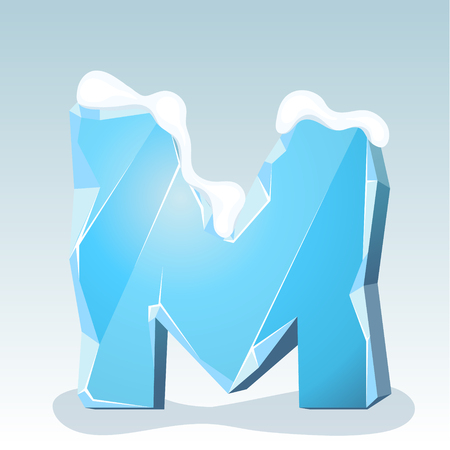 Ice letter M with snow on the top, vector font
