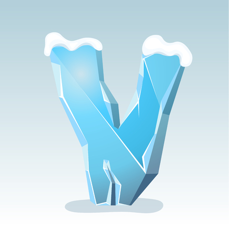 Ice letter V with snow on the top, vector font Illustration
