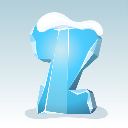 Ice letter Z with snow on the top, vector font Illustration