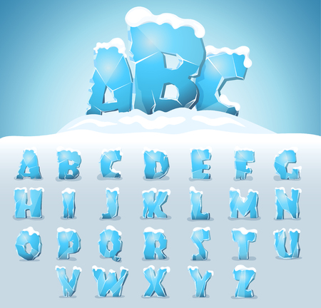 Ice letters with snow on the top, vector font Ilustração