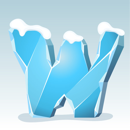 Ice letter W with snow on the top, vector font Illustration