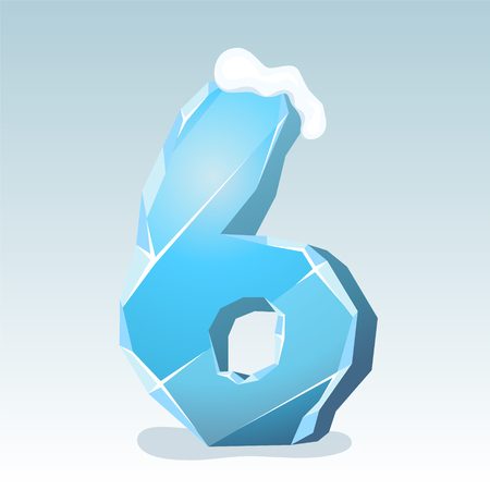 Ice number six with snow on the top, vector font