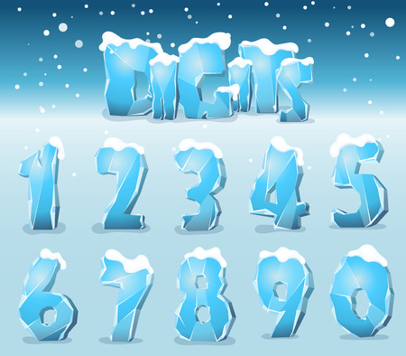 Stylized digits from the ice with cracks, vector font