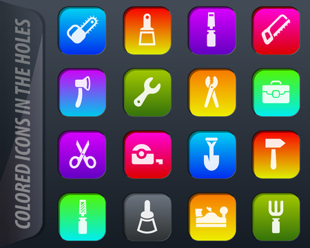 Work tools vector colored icons in the holes easily adapt to any background Иллюстрация