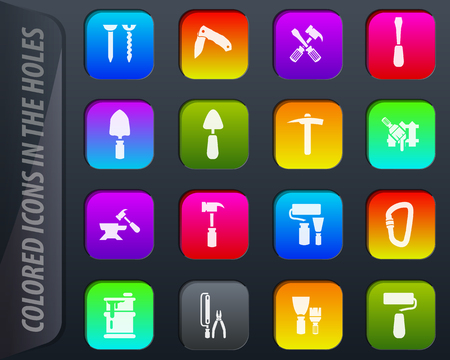 Work tools colored icons in the holes easily adapt to any background